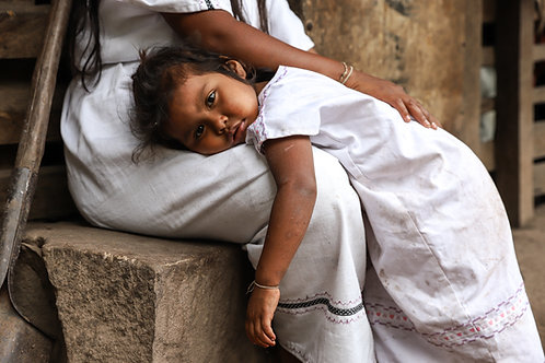 Girl Laying on Mother's Lap, Arhuaco Tribe, Colombia