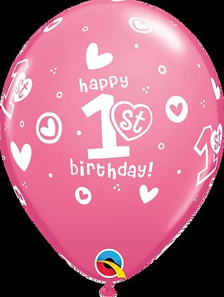 1st Birthday Circle Hearts - Girl