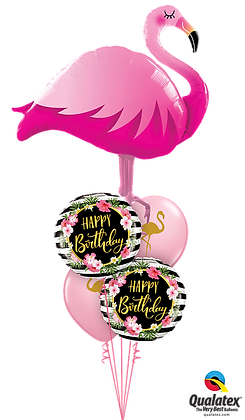 Golden Floral Flamingo Birthday