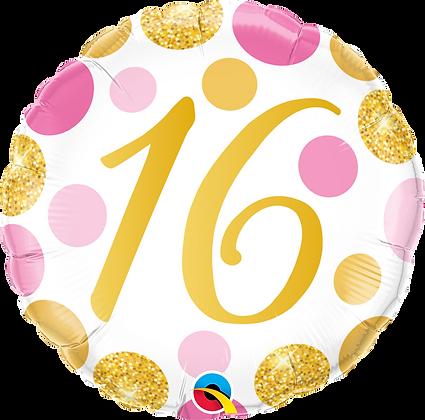 16 PINK & GOLD DOTS