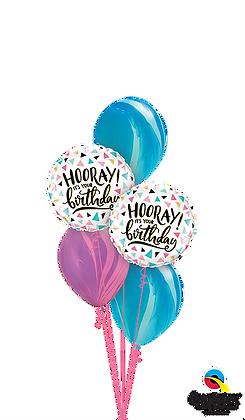Pink & Blue Birthday Hooray