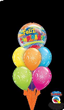 Feliz Cumpleaños Sparkle Balloons Bouquet