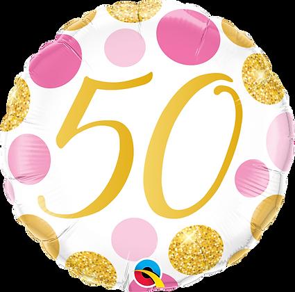 50 PINK & GOLD DOTS