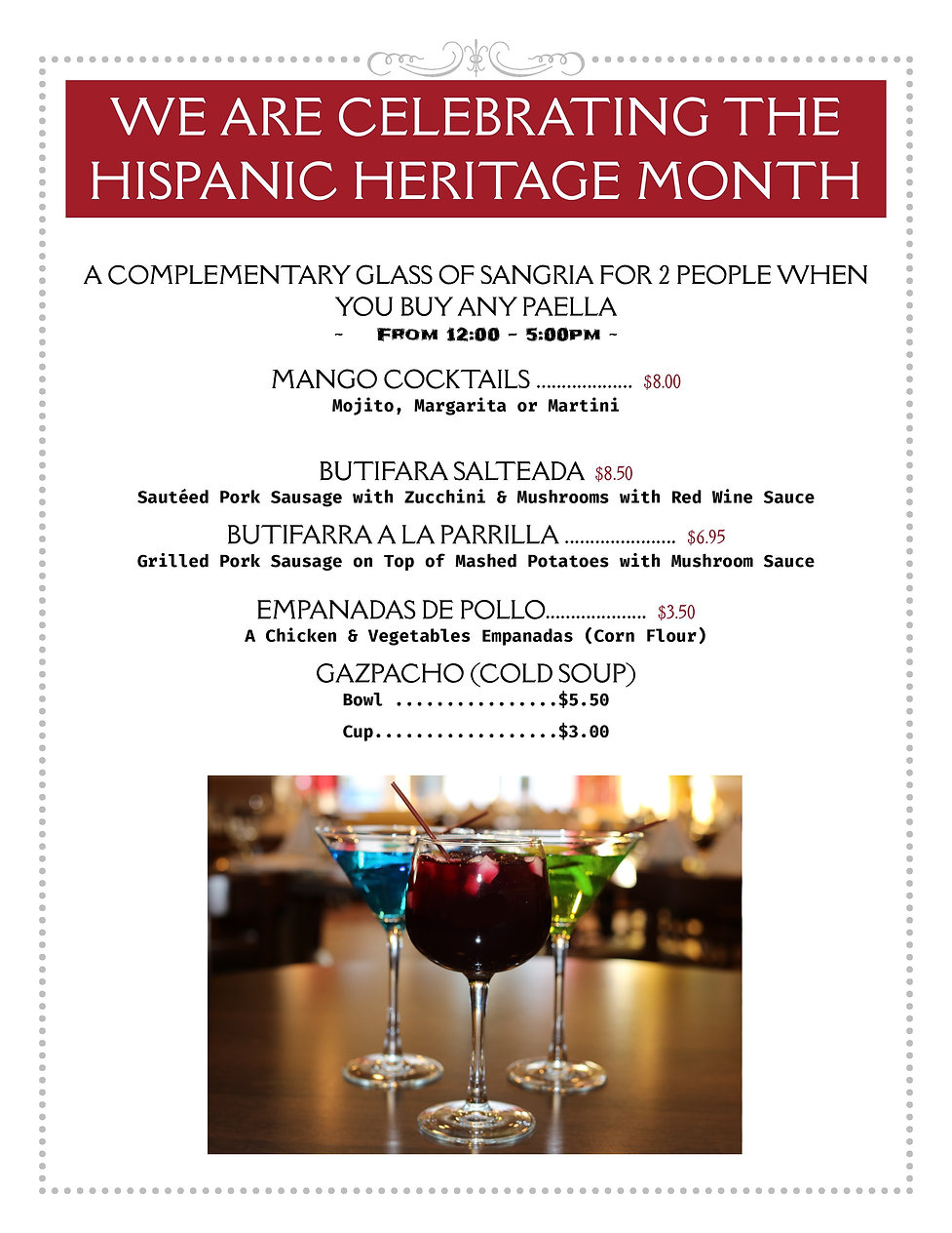 Hispanic Heritage Month Sep 17 - Oct 20-