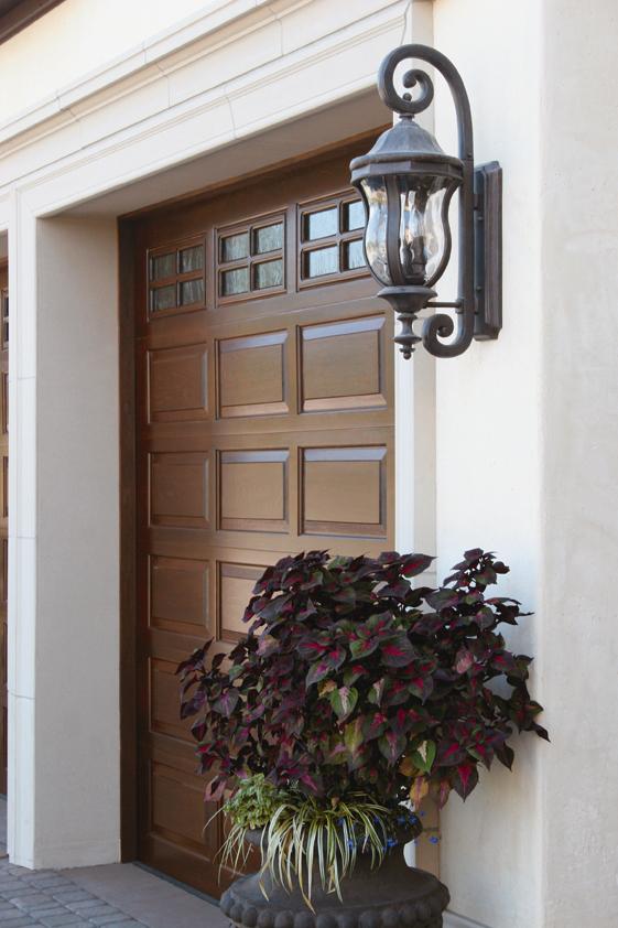Custom wood panel garage door