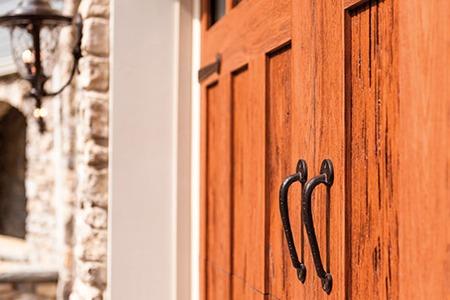 Wooden garage door.