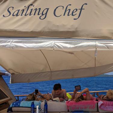 Enjoying the Sailing Chef sun deck