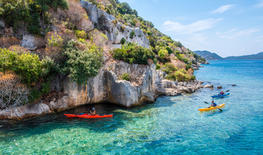 Kayak exploration in the turquoise Mediterranean sea