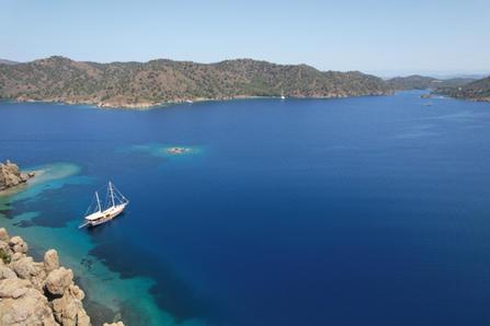 Sailing Chef Gulet anchored in breathtaking Mediterranean bay