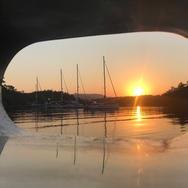 Sunrise from yoru Sailing Chef cabin