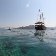 Relaxing swim while moored in a cozy cove