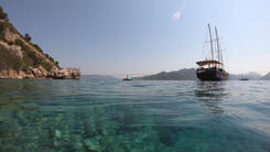 Enjoying a swim with the Sailing Chef anchored in gorgeous scenery