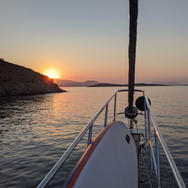 Enjoying the sunset from the bow of the Sailing Chef gulet