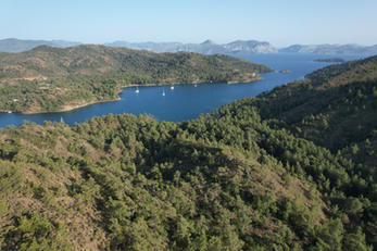 Aerial view of gorgeous bay in the Gulf of Hisaronu