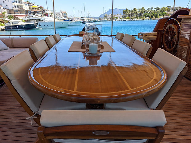 Rear deck dining table _ Sailing Chef