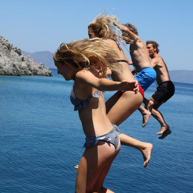 Jumping into the sea