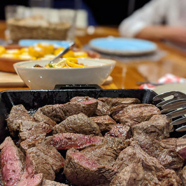 Beef cooked to perfection by the Sailing
