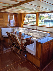 The saloon of the Sailing Chef flagship gulet