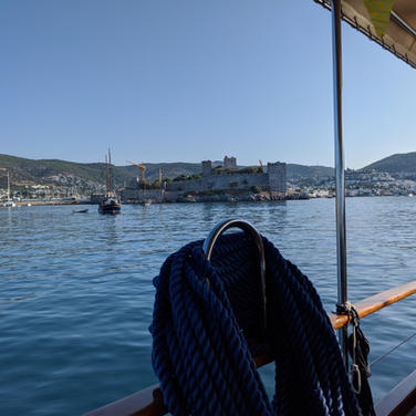 Outside of Bodrum harbour with Bodrum castle view