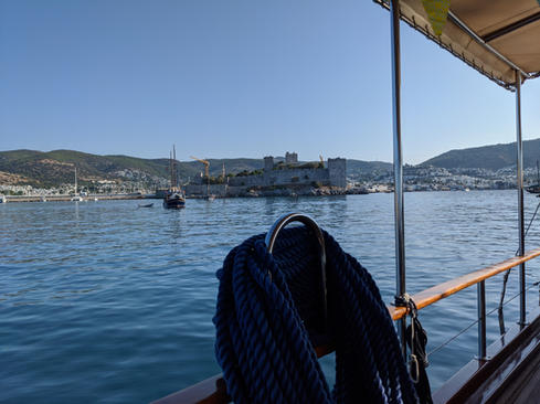 Anchored in front of Bodrum with view of Bodrum Castle