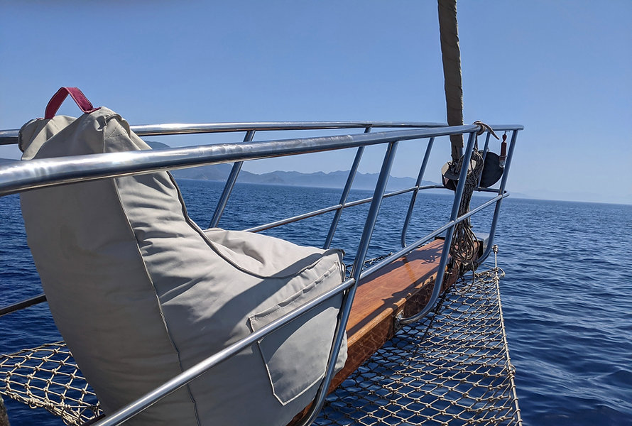 The best seat in the house on the Sailing Chef gulet