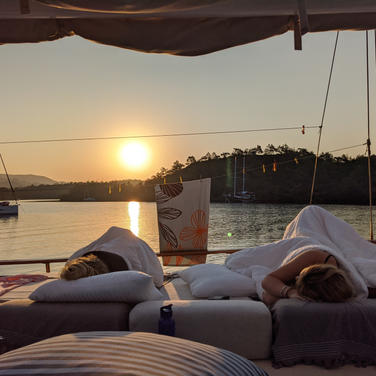 Sleeping on deck of Sailing Chef during