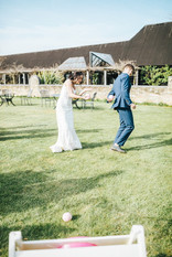 Ball in bucket pastel coloured wedding game