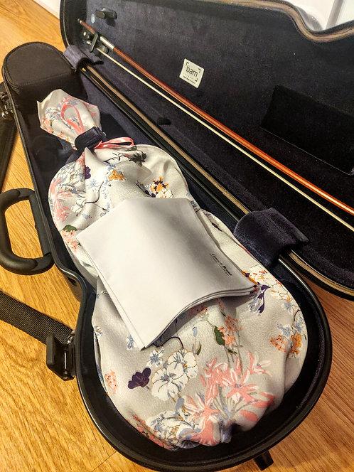 Bag & Handkerchief Violin - Cherry Flowers and Butterflies - Pearl Grey
