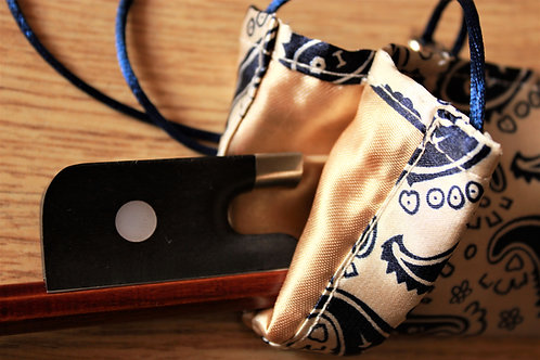 Cello Bow Bag - Dark Blue & Beige Paisley