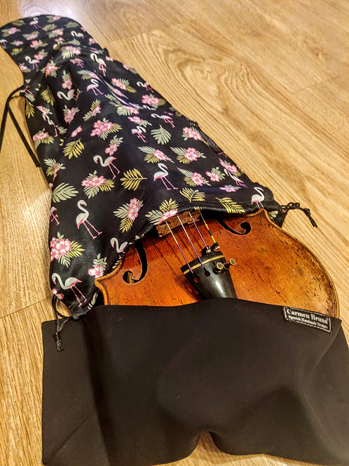Bag & Handkerchief Violin - Tropical Flamingos - Ebony Black
