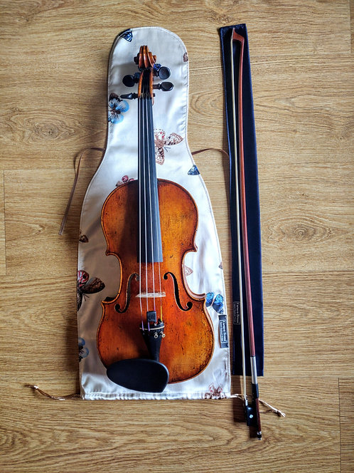 Bag & Bow Violin - Beige Butterflies and Dark Blue