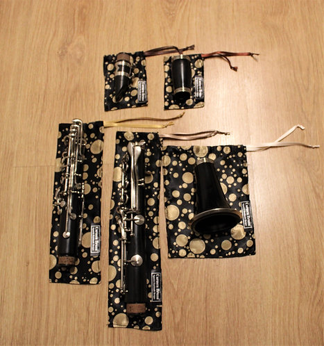 Bag Clarinet Case Set - Black & Gold Bubbles