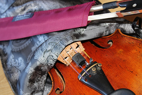 Bag & Bow Violin - Metallic Silver Floral & Maroon
