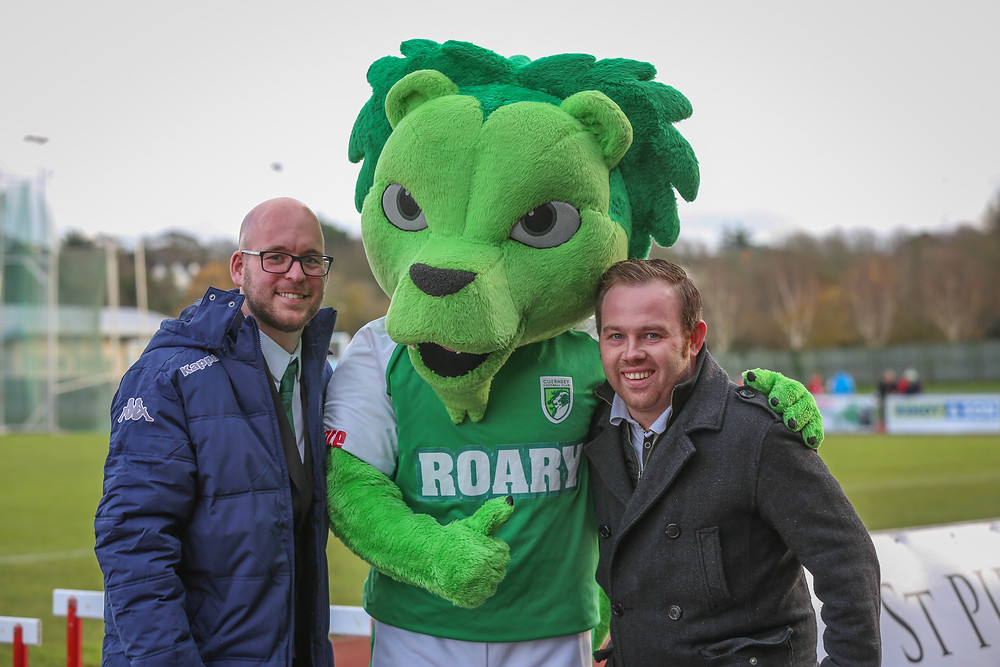 Nic Legg and Aaron Davies with Roary the GFC Lion