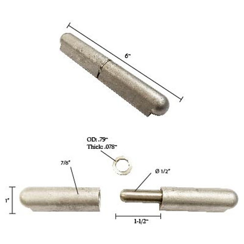 """Aluminum Bullet Hinge With Stainless Steel Pin & Bushing 6"""""""