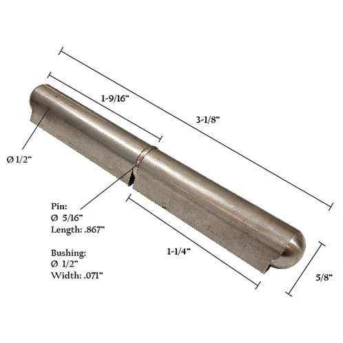 """Stainless Steel Bullet Hinge With Stainless Steel Pin & Bushing 3-3/16"""""""