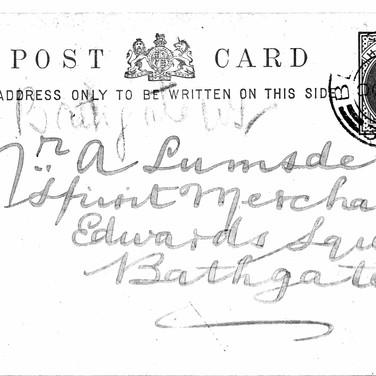 616 Postcard to Lumsden Spirit Merchant