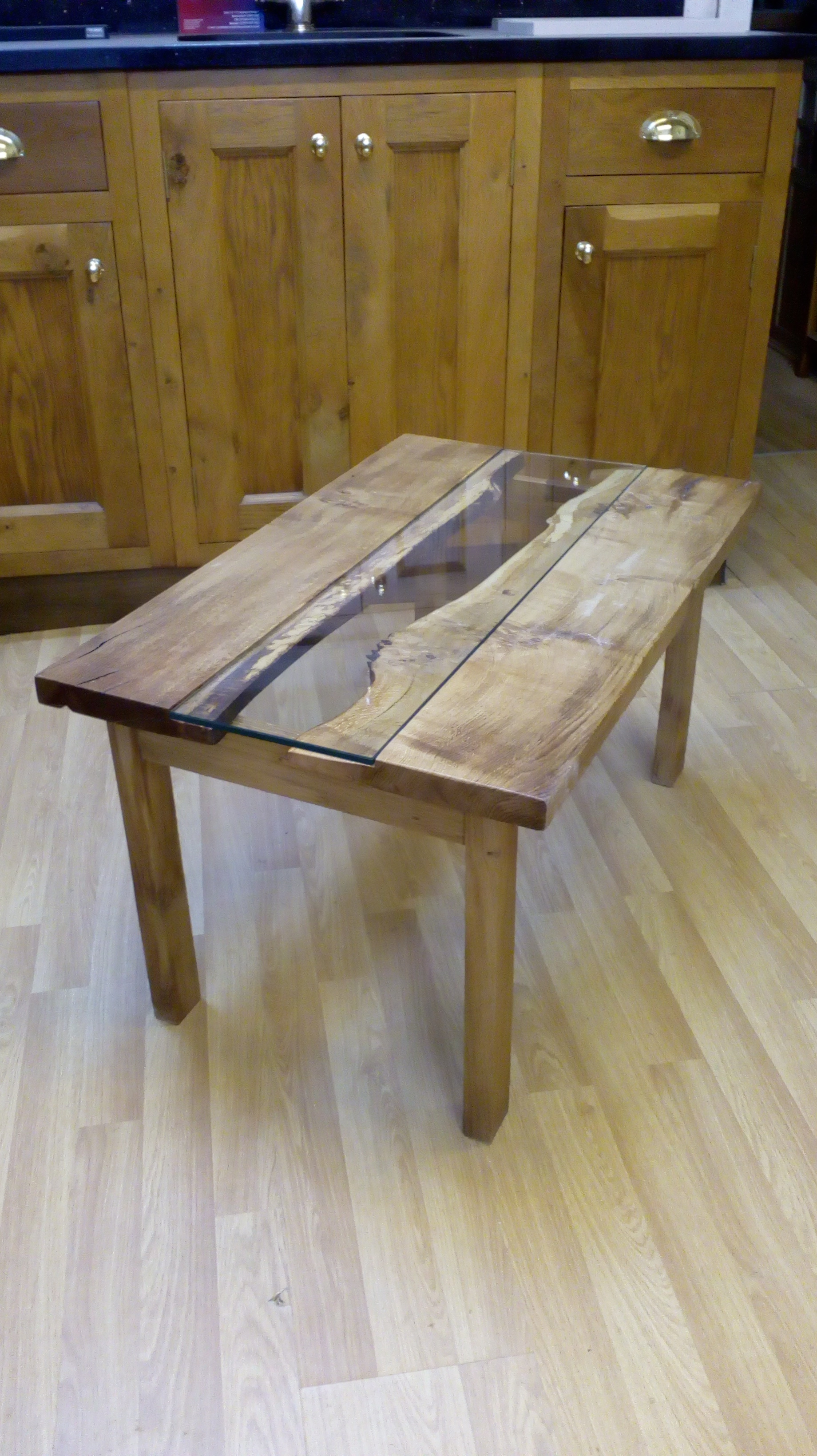 Oak and Glass Coffee Table