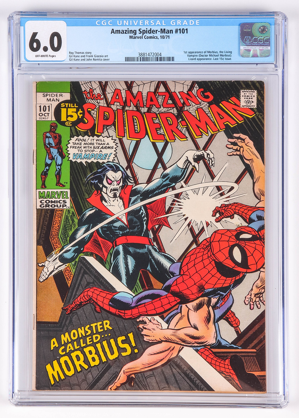 Amazing Spiderman 101, first issue with Morbius, not pressed or cleaned prior to grading by CGC, grader notes include light spine stress, light staining, very light finger bends, soiling