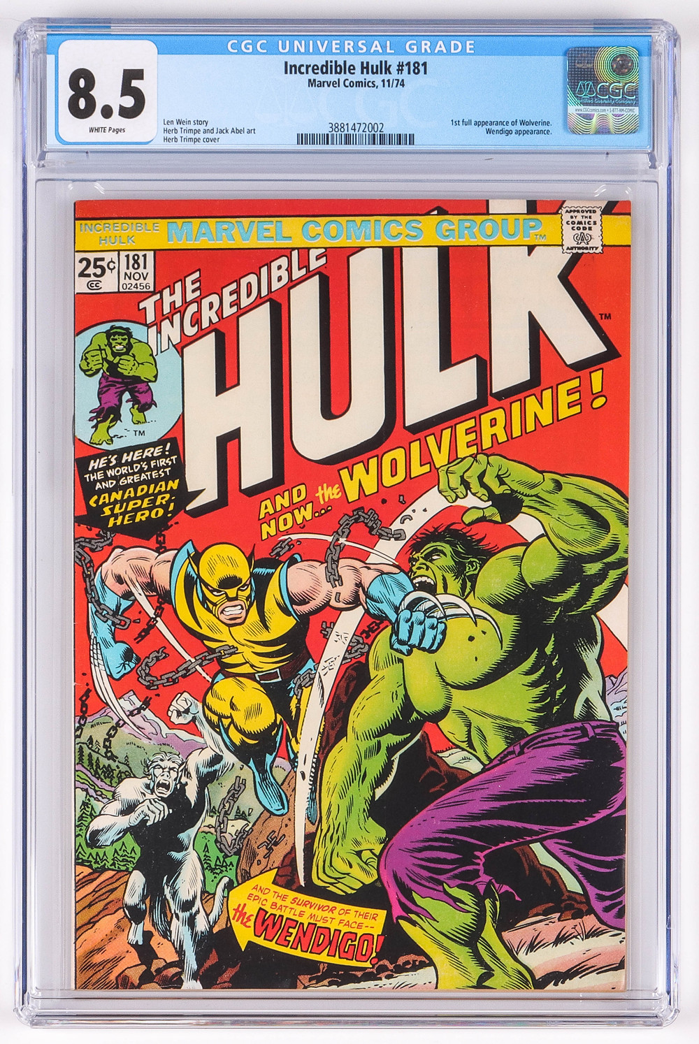 Incredible Hulk No 181, CGC 8.5 white pages, November 1974, first full appearance of Wolverine, not pressed or cleaned prior to grading by CGC, grader notes include slight bends, very light spine stress, very light foxing