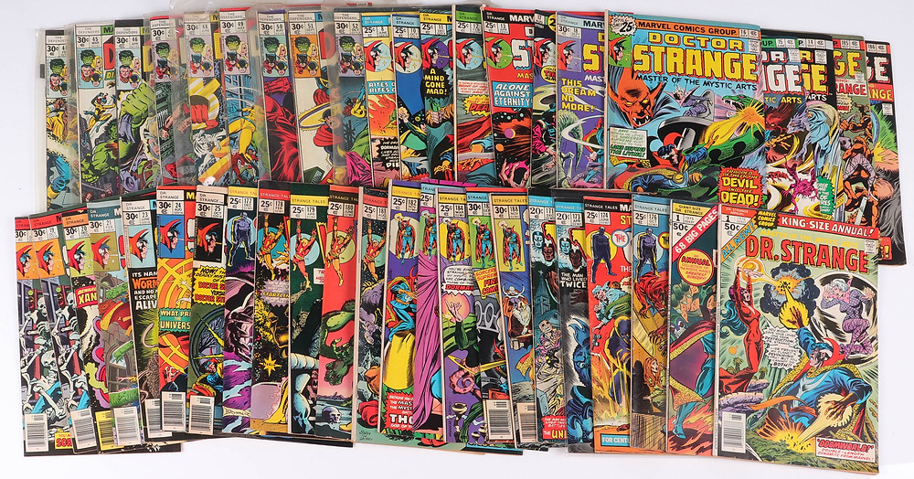 Marvel Dr. Strange and Defenders to include 2,5-6,8-29;36-52 The Defenders, 171, 173, 164, 176 Strange Tales, 180-181 (silver) both VG-F ; 1-8, 10-21,23-25 (bronze) Dr. Strange, 1 giant size Dr. Strange, 1 king size Dr. Strange, 2,3 Marvel Feature, 1-3 giant size Defenders. This lot has no graded comics. Any condition statement is subjective. The comics represent a broad range of silver and bronze age comics.