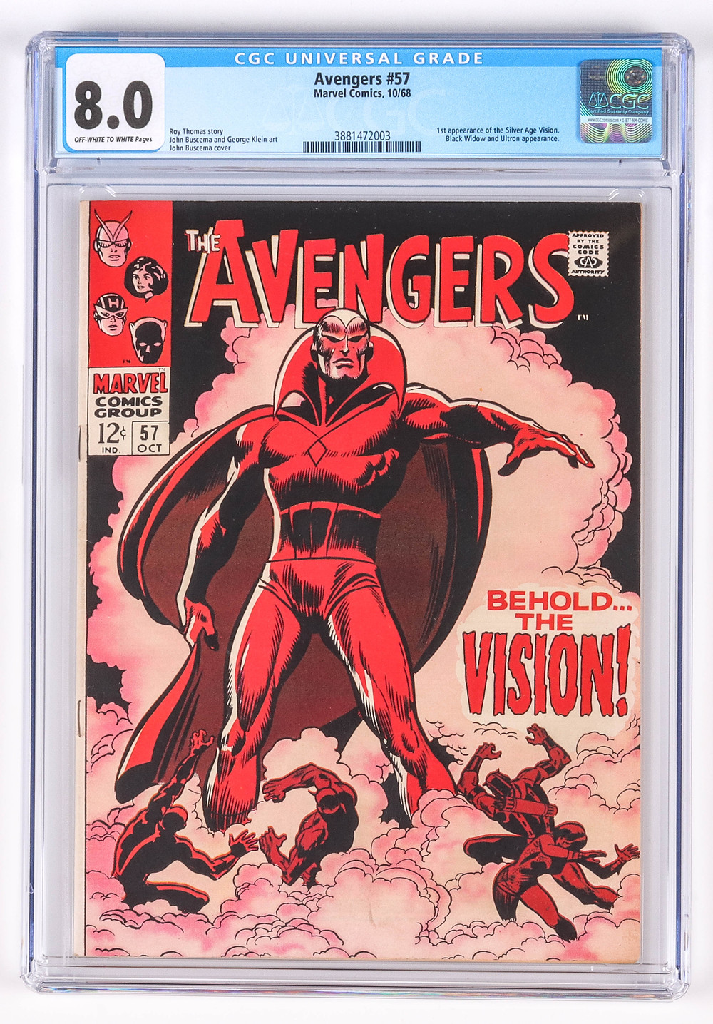 Avengers No 57 first Vision, CGC 8.0 offwhite-white pages, first appearance of Silver Age Vision, Black Widow & Ultron appearance, not pressed or cleaned prior to grading by CGC, grader notes include slight soiling, slight spine stress, very small very light crease, light foxing