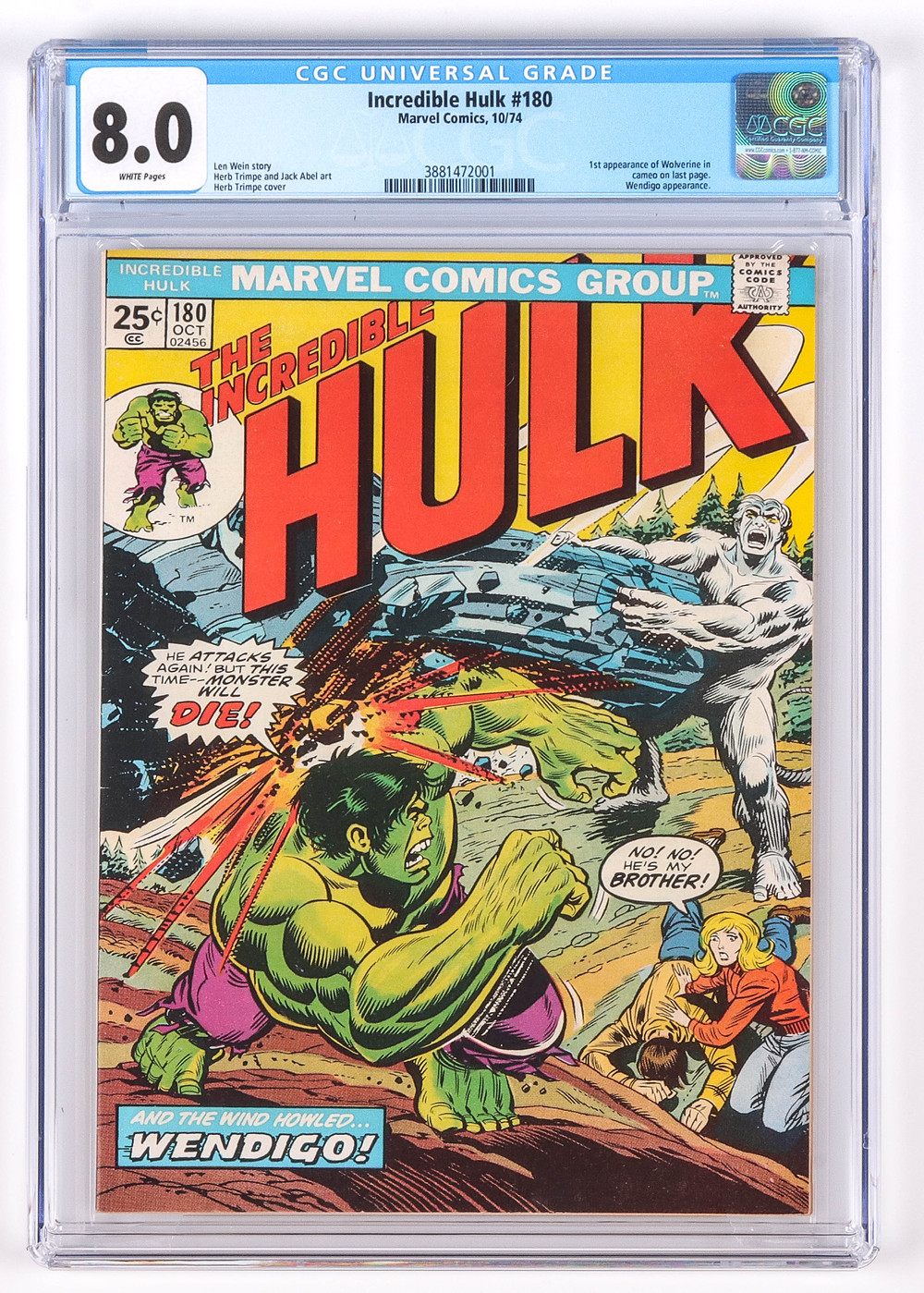 Incredible Hulk No 180, CGC 8.0 white pages, October 1974, first appearance of Wolverine in cameo, not pressed or cleaned prior to grading by CGC, grader notes include light spine stress, very light bends to cover