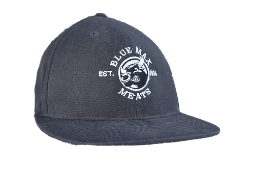 Black Flat Bill Flex Fitted Cap
