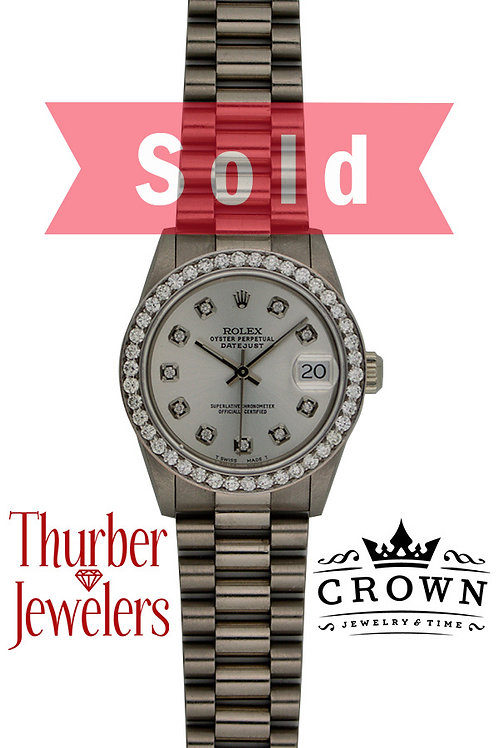 """Ladies Rolex Oyster Perpetual Datejust """"Presidential"""" 18kwg dia bzl/dial"""