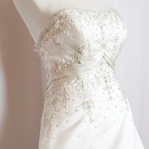 STRAPLESS BEADED SATIN  BUTTON BACK