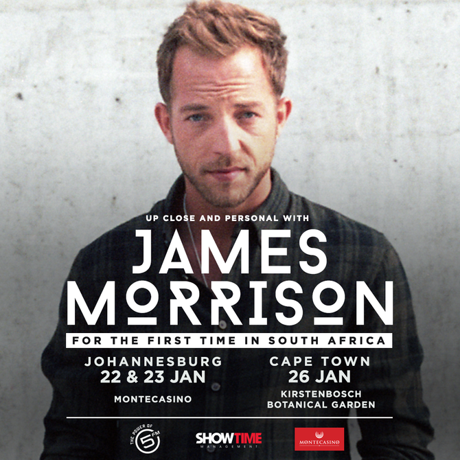 SINGER-SONGWRITER JAMES MORRISON TO TOUR SOUTH AFRICA FOR THE FIRST TIME