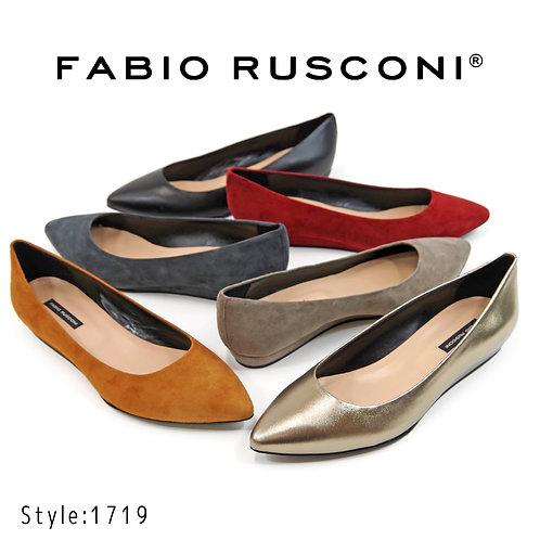 【FABIO RUSCONI ファビオ ルスコーニ】イタリア製 ポインテッドトゥ ローヒールパンプス【1719】