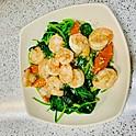 Sautéed Prawns with Spinach