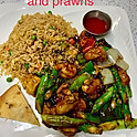 Asparagus Prawns & Chicken in Black Bean Sauce (Lunch)